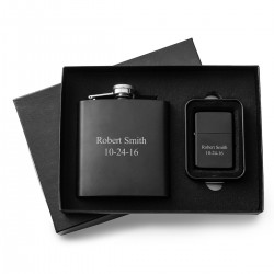 Black Matte 6oz Flask and Lighter Gift Set