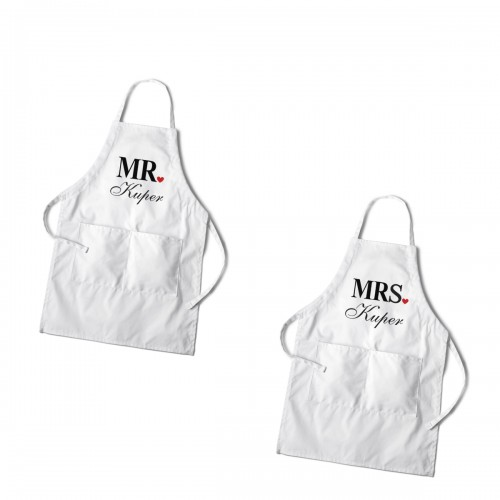 Personalized Mr. and Mrs. Couples White Apron Set