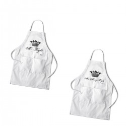 Personalized Royal Couples White Apron Set