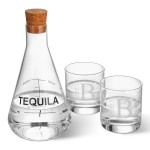 Personalized Tequila Decanter in Wood Crate with set of 2 Lowball Glasses