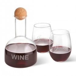 Personalized Wine Decanter in Wood Crate with set of 2 Stemless Wine Glasses