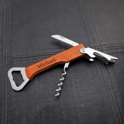 Personalized Wood Handled Wine & Bottle Opener Multi-tool